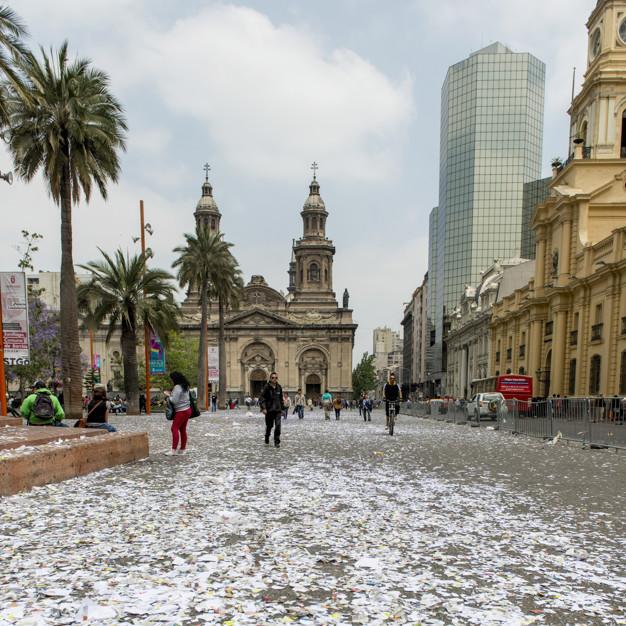 People in front of the Santiago de Compostela Cathedral, Santiago, Santiago Metropolitan Region, Chile
